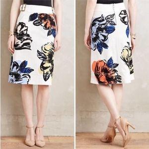 Anthropologie Maeve White Denim Floral Belt Skirt